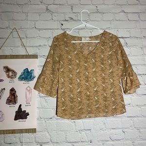 Urban Outfitters Pins And Needles Bird Tan Blouse